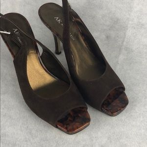 Suede and tortoise brown sling backs